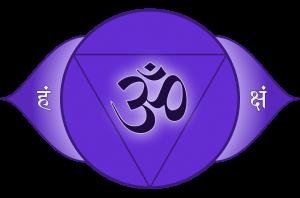 symbool uit het Sanskriet van het derde oog chakra