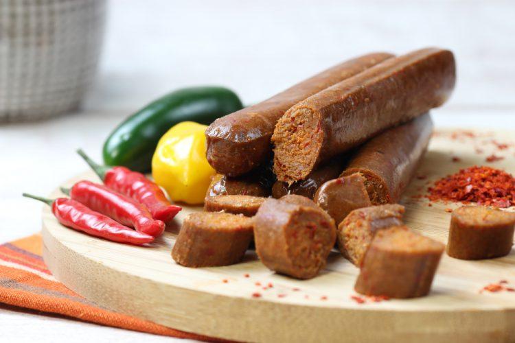vleesvervanger zonder soja van Wheaty: spacebar chorizo vegan
