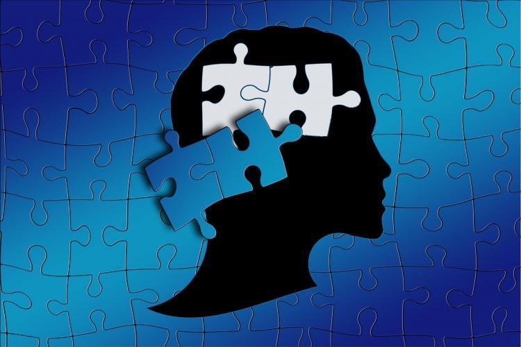 puzzel met hoofd van een mens, waarbij er 2 puzzelstukjes in het hoofd van de mens zitten