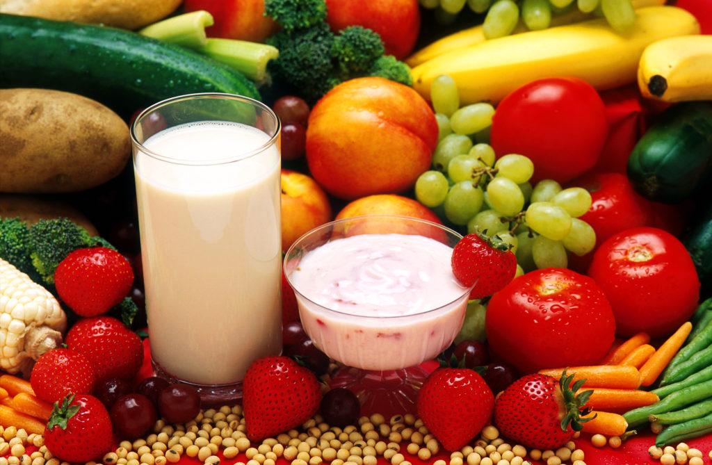 vegetarisch eten: zuivel, groenten en fruit