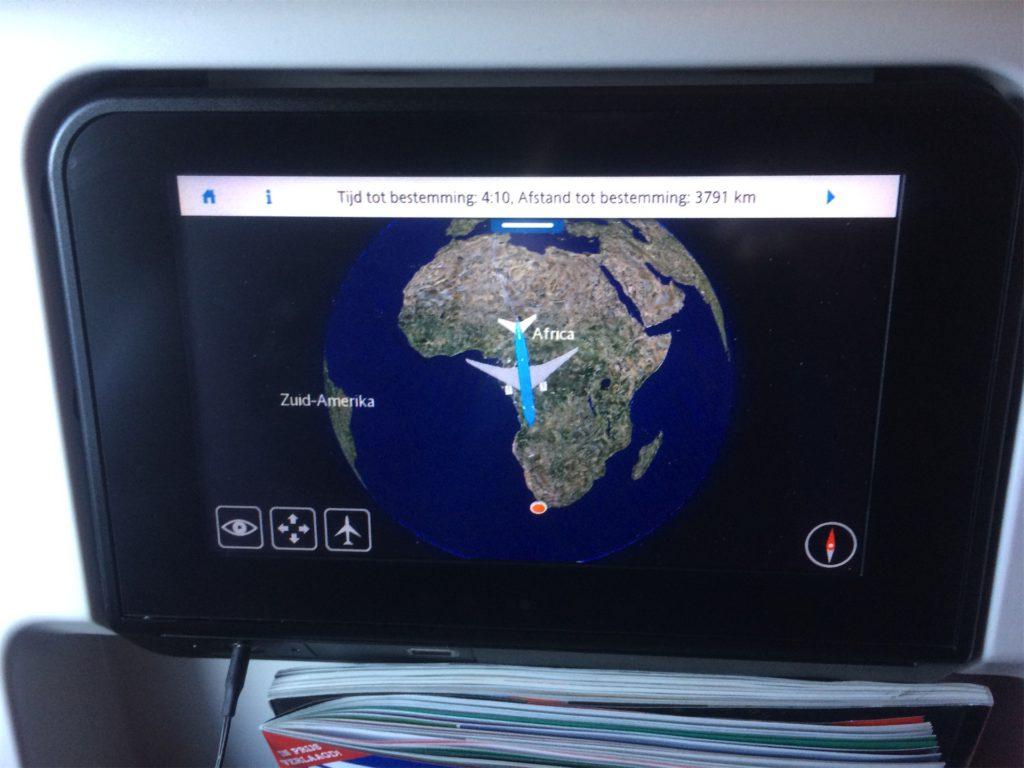 route van Amsterdam naar Kaapstad op het vliegtuig navigatiesysteem