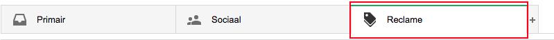 locatie van Reclamebox in Gmail, rood gemarkeerd