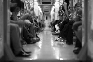 binnenkant van metro/trein