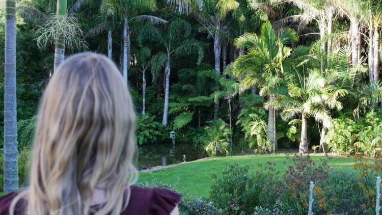 Femke de Grijs kijkt naar palmbomen in Whangarei