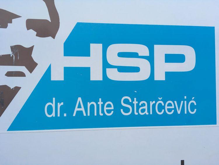bord met HSP tekst in Kroatië