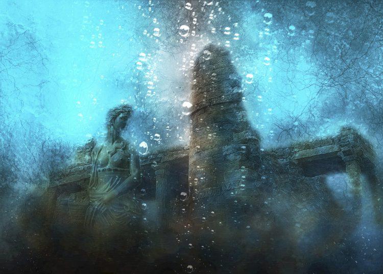 oude ruïne met een standbeeld van een vrouw onder water
