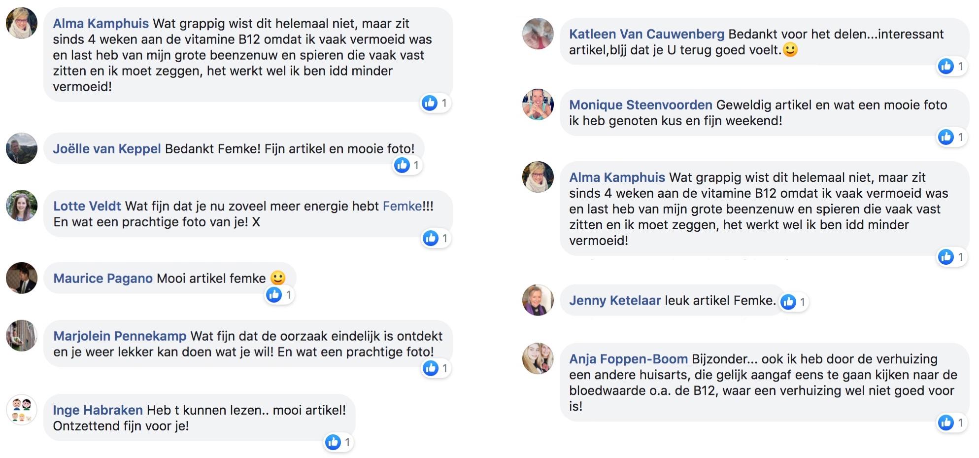 ervaring van anderen naar aanleiding van het interview met Femke de Grijs in Libelle over vitamine B12-tekort