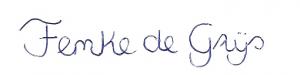 handgeschreven naam: Femke de Grijs