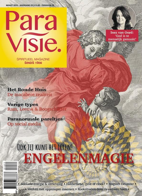 cover van ParaVisie met de tekst Werken met Opgestegen meesters (in dit artikel interviewt Femke de Grijs Mathijs van der Beek over opgestegen meesters)