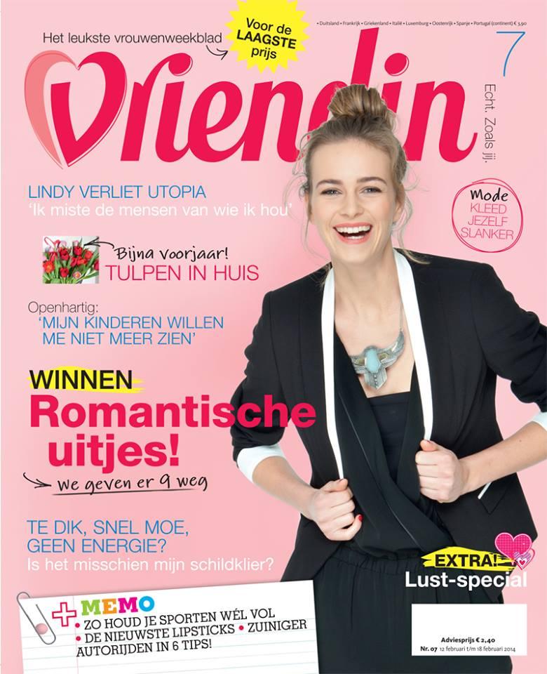 cover van het tijdschrift Vriendin waarin Femke de Grijs is geïnterviewd over liefde op het eerste gezicht