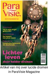 ParaVisie Magazine mei 2021 cover met artikel van Femke de Grijs over lucide dromen