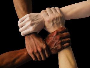 handen ondersteunen en supporten elkaar